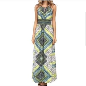 London times halter top maxi dress green blue